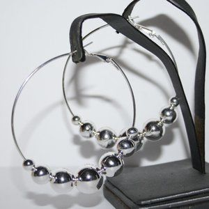 Nwot silver hoop earrings with balls